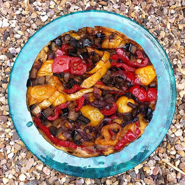 Tarta de pimiento, rojo y amarillo